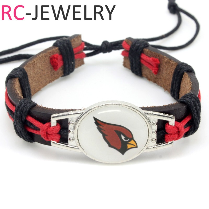 (10 pieces/lot) Adjustable Arizona Leather Cuff Cardinals Bracelet for Men Women Bangle Casual Football Team Wristband Jewelry