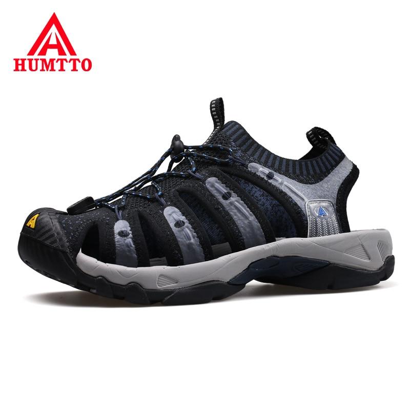 HUMTTO Outdoor Man Beach Sandals Summer Non slip Wear resistant Waterproof Men Beach Shoes Adjustable Elastic