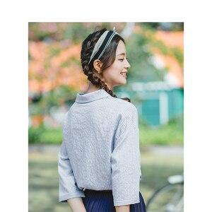 Image 2 - インマン夏ターンダウン襟レトロストライプ韓国ファッション文学すべて一致したハーフスリーブ女性のシャツ