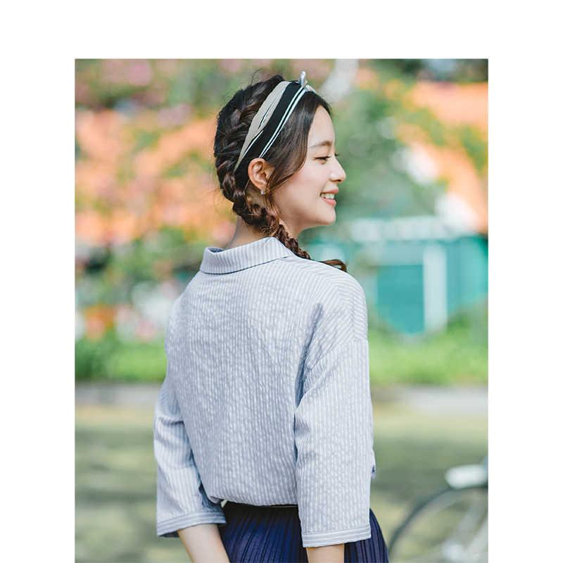 Inman 2019 Musim Panas Baru Kerah Bergaris Retro Fashion Korea Sastra Semua Cocok Setengah Lengan Wanita Kemeja