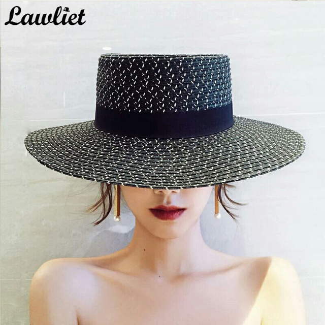 3290a2465c56a New Fashion Women Straw Hats Wide Brim Summer Cap Black Flat Top Rinbbow Kentucky  Derby Hats Ladies Panama Beach Hats A431