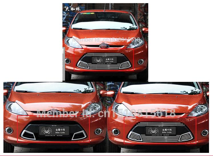 Car front bumper Mesh Grille Around Trim Racing Grills 2009-2012 For Ford Fiesta Quality Stainless steel racing grills version aluminum alloy car styling refit grille air intake grid radiator grill for kla k5 2012 14