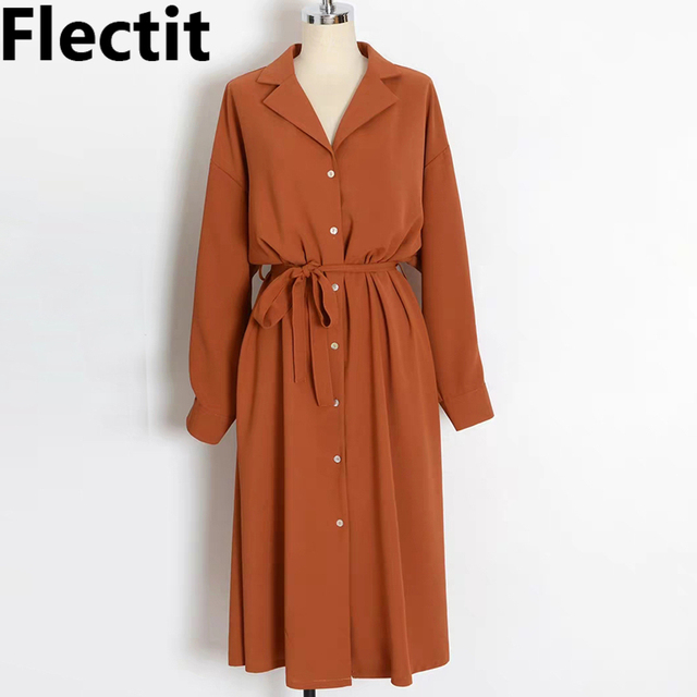Flectit Business Chic Women Midi Shirt Dress with Bow Button Up Long Sleeve Spring Summer Dress Office Lady Outfit *