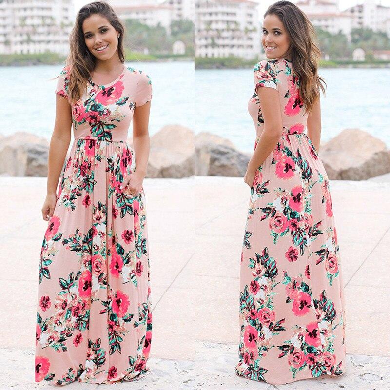 Women Long Maxi Dress 2019 Summer Floral Print Boho Beach Dress Short Sleeve Evening Party Dress