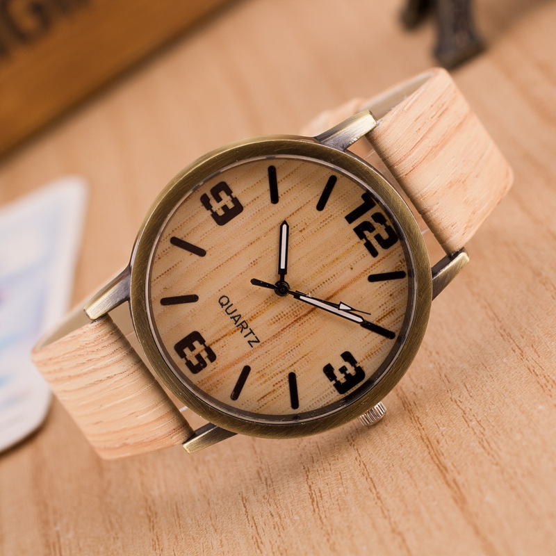 2016 New Design Vintage Wood Grain Horloges voor mannen Damesmode Quartz horloge Faux Leather Unisex Casual Horloges Gift