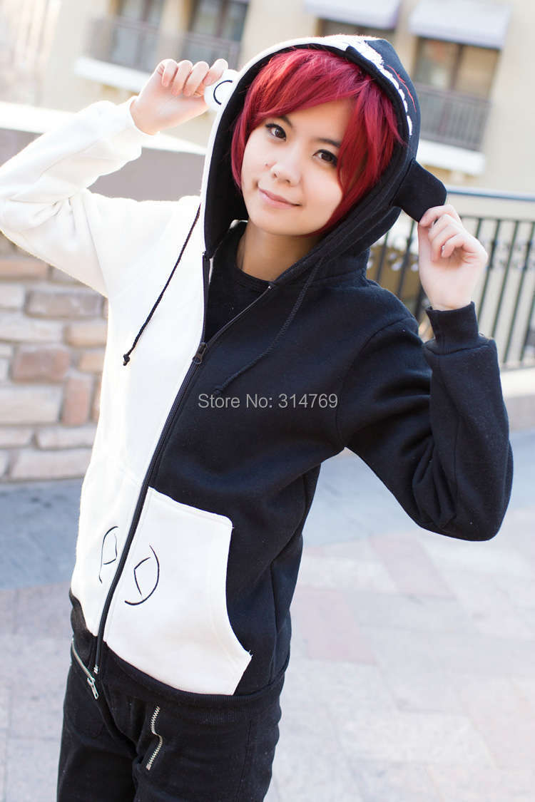Hot Anime Cartoon Danganronpa Dangan Ronpa  Cosplay Costume Monokuma Sweatshirt Winter Coat velvet/Cotton outerwear Jacket