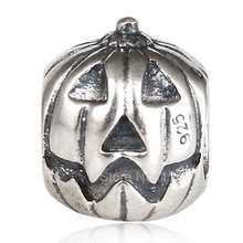 Vendita calda di Halloween Zucca di Tono Dell'annata Authentic 925 Sterling Silver Charm Europea Per Il FAI DA TE di Fascino Dei Monili di SAPB3161(China)