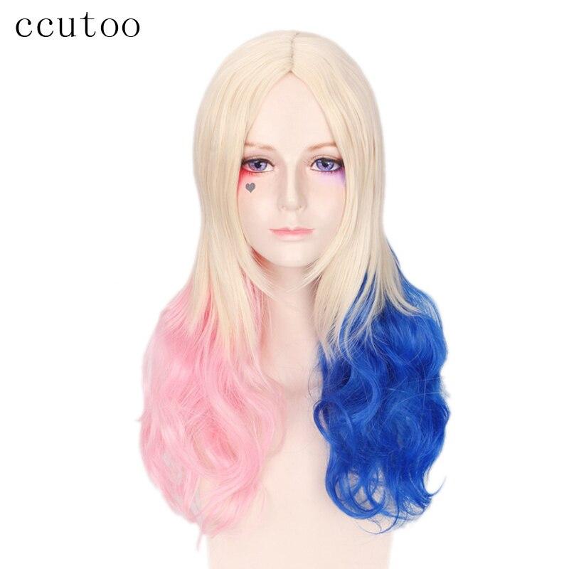 Ccutoo 28 розовый синий блондинка смесь Харли Квинн Отряд Самоубийц Бэтмен синтетический парик Харлин колокольне Косплэй костюм парик