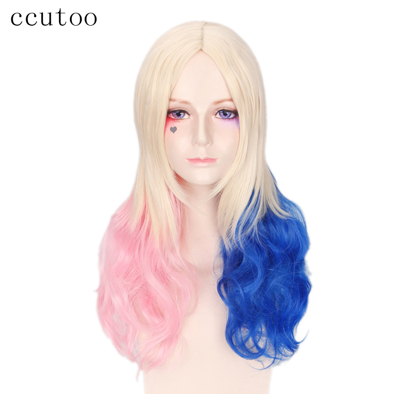 ccutoo 28 Pink Blue Blonde Mix Ombre Central Parting Hairstyles Wavy Long Synthetic Hair Cosplay Costume