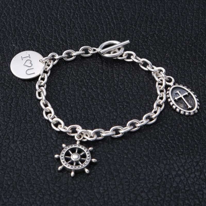 Sterling Argent 925 Occasionnel Femelle Charmes Bracelet Mode Thai Argent 925 Bijoux Femmes Cool Chaîne Bascule Bracelet Cadeau Pour Elle