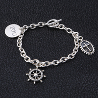 Sterling Silver 925 Casual Female Charms Bracelet Fashion Thai Silver 925 Jewelry Women Cool Toggle Chain Bracelet Gift For Her