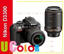 New Nikon D3300 DSLR Camera Body & AF-S 18-55mm VR II & AF-S 55-200mm ED VR II Lens Kit BLACK