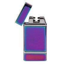 8 Tipos de Cigarrillo Electrónico Más Ligero de Carga USB Doble Pulso Arco Cruz Ligthers Metal Fumar Encendedor A Prueba de Viento Nuevo Llega