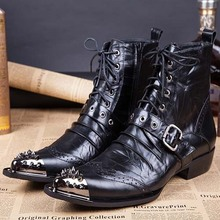 Free shipping Men's Cool Stylish Spike Rivet Studded Leather Motorcycle Martin Boots Punk Rock Fashion Shoes for men