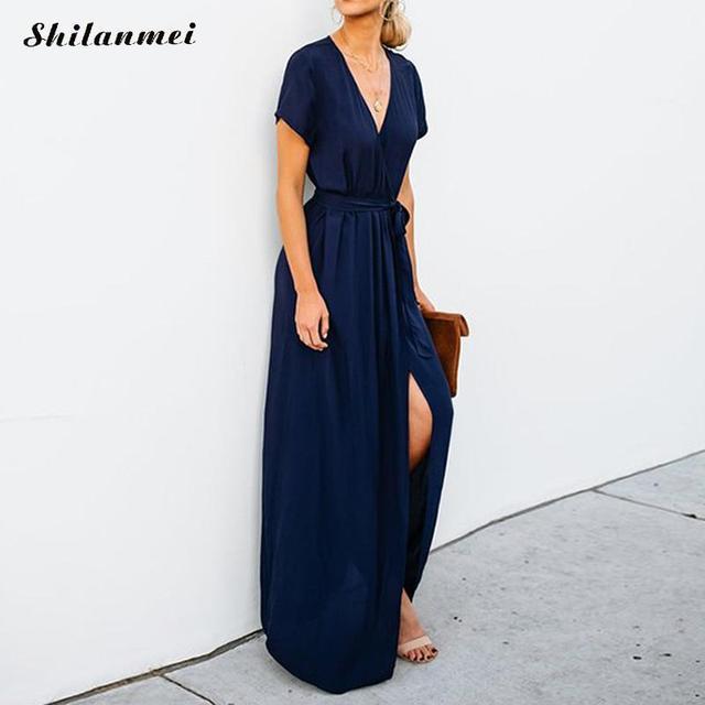 d1334bf4ea New Arrival Long Maxi Dress Women Summer Tunic Wrap Robe Black Beach  Vestidos V Neck Short Sleeve Office Ladies Sexy Split Dress