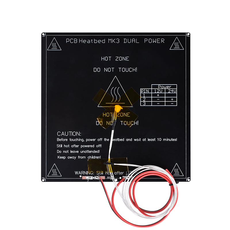100k Ohm Thermistors Aluminum Heated Bed Diameter Like Mk2b Resistor Cable 3d Printer Pcb Mk3 Heatbed +sticker+ Led
