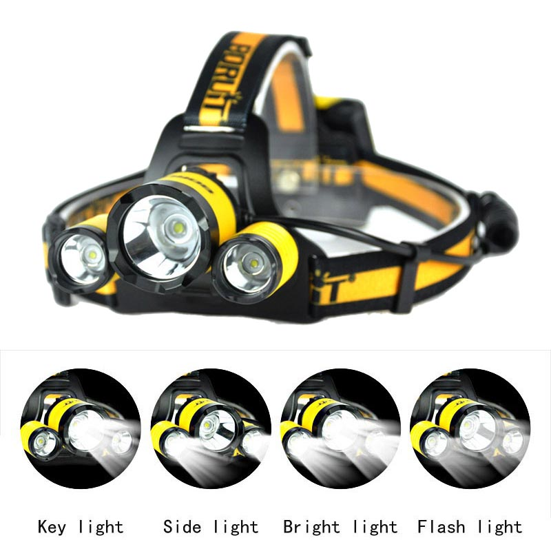 BORUIT B17 LED Headlamps Camping Headlight L2+2R5 Sports Fishing Head Lamp Head Flashlight Lights For AA Battery (Not Included)