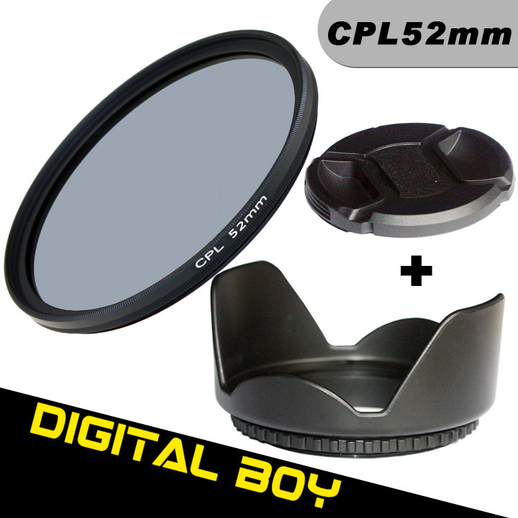 (3pcs/1lot)1pcs Digital Boy 52mm CPL C PL Lens Filter+52mm Lens Hood+Lens cap Filter kit ...