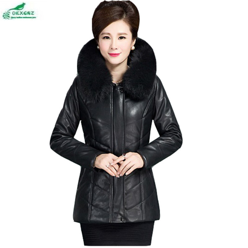 Boutique new ladies plus size PU   leather   coat warm and loose jacket coat clothes winter models Fur collar down cotton coatOKXGNZ