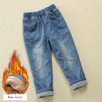 Winter Baby Boy Jeans Pants Denim Trousers High Quality 100% Cotton Warm Velvet Mid Waist Kid Toddler Teen Boy Clothes 2T 12 14Y