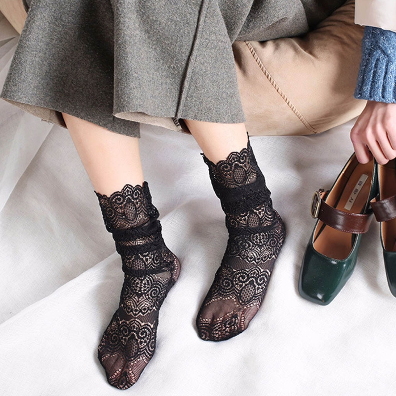Fashion Transparent Lace Mesh Casual Sexy Retro Glitter Print Ankle Lady Socks