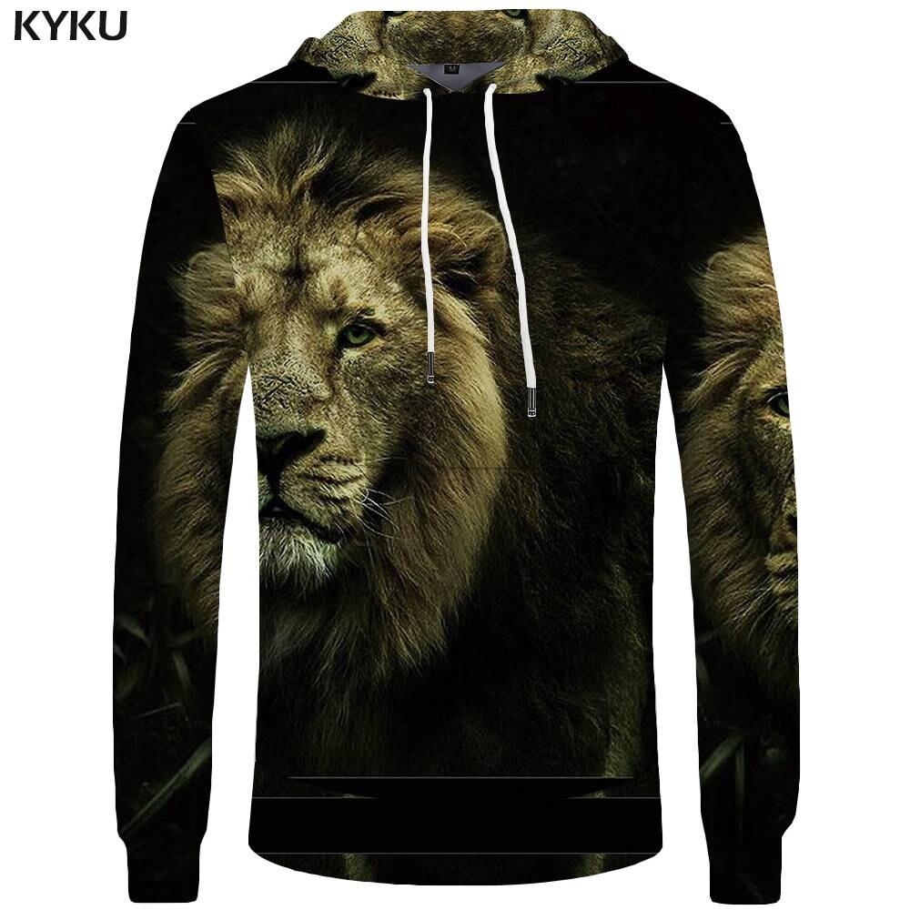 KYKU Lion Hoodies Men Animal Mens Clothing Sexy Pocket Hoddie Big Size Sweatshirts 3d Hoodies Hoodie New Fashion High Quality