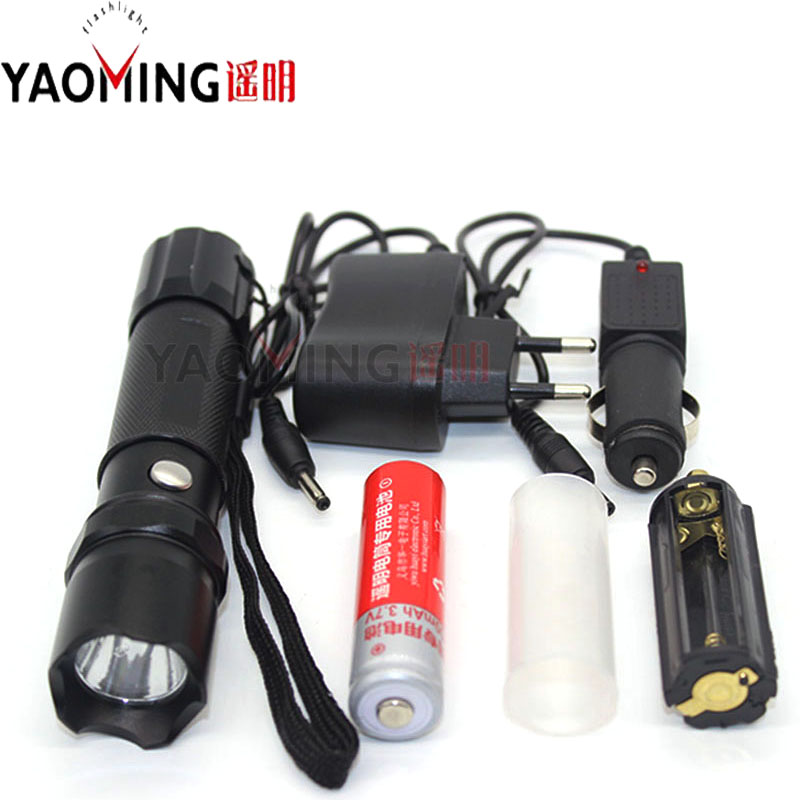 High Power Linternas Police Flashlight Waterproof Lantern Rechargeable Lamp Torch 2000lm + 18650 Battery + Charger Tactical Led