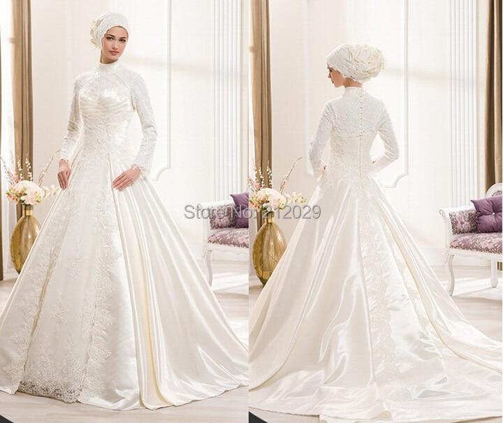 Elegant Long Sleeve Wedding Dress Muslim Dress 2015 Simple: Handmade Muslim A Line Pleat High Full White Lace Wedding