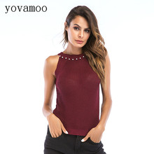 Yovamoo 2018 Summer Streetwear Fashion Beading Halter Knitted Vest Sleeveless Women Tank Tops Black White Burgundy