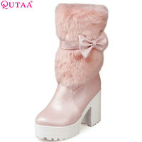 VINLLE Pink White Ladies Shoes High Heel Women Mid Calf Boots Sweet Bow Tie Winter Woman