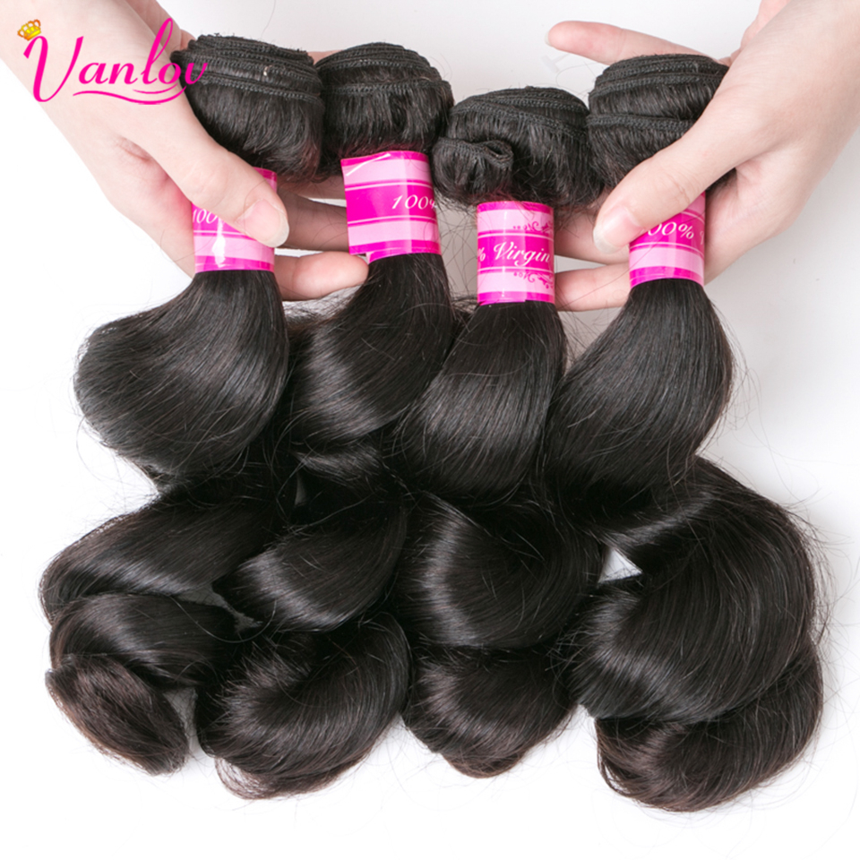 Vanlov Loose Wave 3 Bundles 100% Human Hair Extensions Non Remy Natural Color Peruvian Hair Weave Bundles Jet Black Available