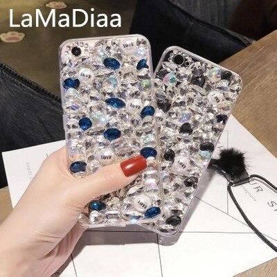 LaMaDiaa Modedesign Super Luxus DIY Bling Kristall Diamant Strass Fall abdeckung für samsungS5 S6 S7 S8 S9 s8plus N4 N5 N8