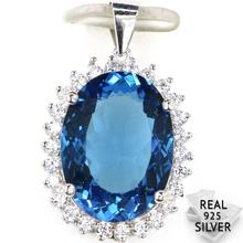Guaranteed Real 925 Solid Sterling Silver 4.6g New Designed London Blue Topaz CZ Present Pendant 25x16mm