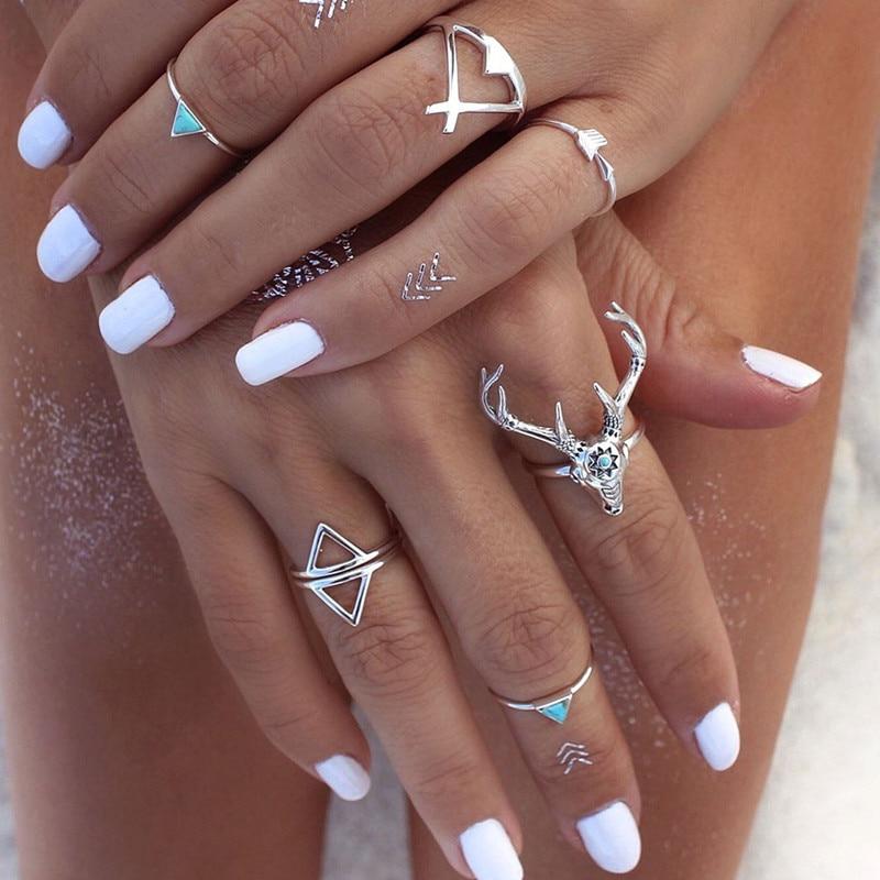 1lot=7pieces Vintage Ethnic Bohemian Boho Ring Elk Deer Arrow Finger Ring Bague Punk Midi Finger Knuckle For Women Nice Gift