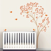 Pretty Tree Nursery Tree Colorful Leaves Art Wall Decals With Flying Birds Art Decor Sweet Wall Sticker For Kid Bedroom Wm 572