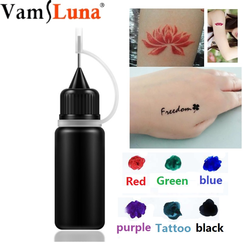 Temporary Tattoo Ink. Natural & Long Lasting (Organic Jagua Fruit Gel/Ink).  No Alcohol. 10ml 6 Colors & Recyclable Templates Lexus RX