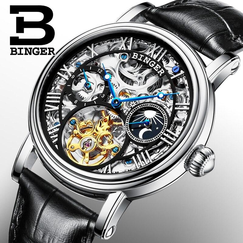 Suisse BINGER montres hommes marque de luxe Tourbillon Relogio Masculino résistant à l'eau squelette mécanique horloge B-1171-3