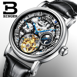 Switzerland BINGER Watches Men luxury brand Tourbillon Relogio Masculino water resistant Skeleton Mechanical Clock B-1171-3
