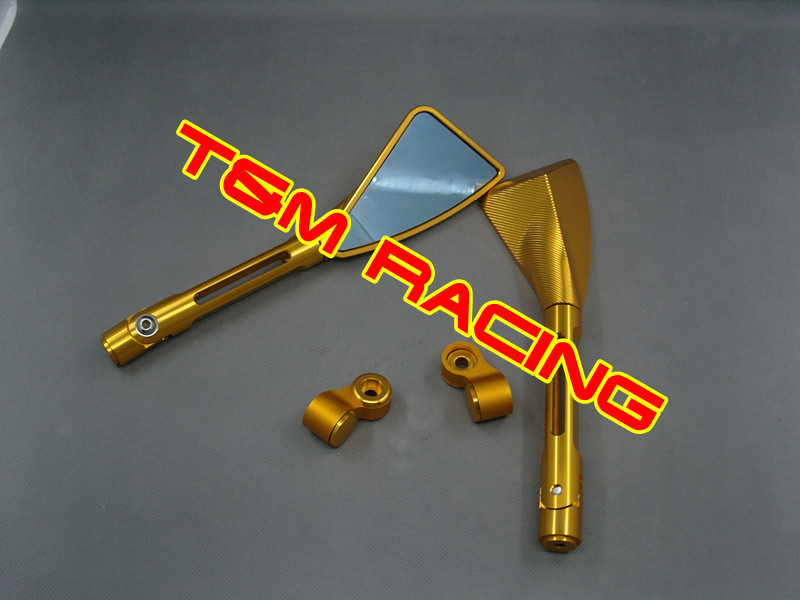Motorcycle bike rear view side mirror universal left right mirror set GOLD R1 R6 CBR600 1000 GSXR600 1000 CBR600 1000 exerpeutic 1000 magnetic hig capacity recumbent exercise bike for seniors