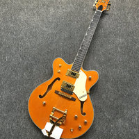 Newest Custom 335 guitr Jazz Hollow Body Guitar F Holes Custom Electric guitar,Orange color,Real photos,free shipping!wholesale!
