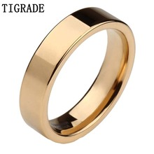 TIGRADE 6mm High Polished Black Silver Gold Mens Tungsten Carbide Ring Women Wedding Band Female Engagement Rings Comfort Fit