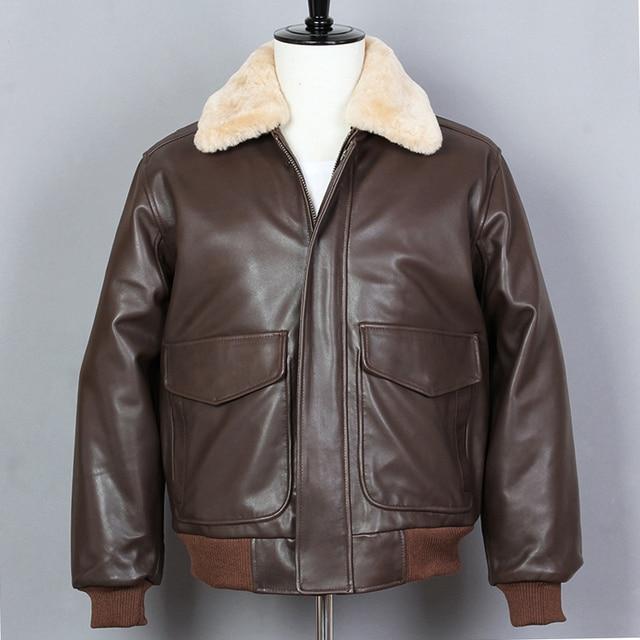 6e38338cf3cc0 Avirex fly Air Force Flight Jacket G1 Fur Collar Sheepskin Genuine Leather  Jacket Men Bomber Jacket Motorcycle Winter Coat Male