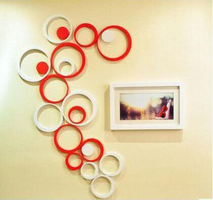 2015 hot sale Circle Round Bubble 3D wood Wall Sticker Wooden Wall ...