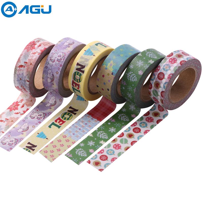 AAGU 1PC  15MM*10M Christmas Snowman Washi Tape Cute Unicorn MAsking Tape Various Fresh Design Adhesive DIY Planner Paper Tape aagu new arrival 1pc 15mm 10m musical note fresh floral washi tape strawberry sticky adhesive tape various patterns masking tape