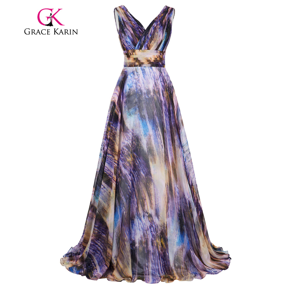 Grace Karin Celebrity Long Ombre   Prom     Dress   2018 Real Photo Gradient Party Evening Gowns Deep V New Arrival Bridesmaid   Dresses