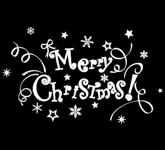 Black wall decorative merry christmas alphabet tree vinyl wall sticker decals window decor25
