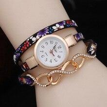 цена 2019 New Fashion Women Leather Strap Watches Flower Bracelet Women Dress Watch Wristwatches Quartz Watch female hour clock AC115 онлайн в 2017 году