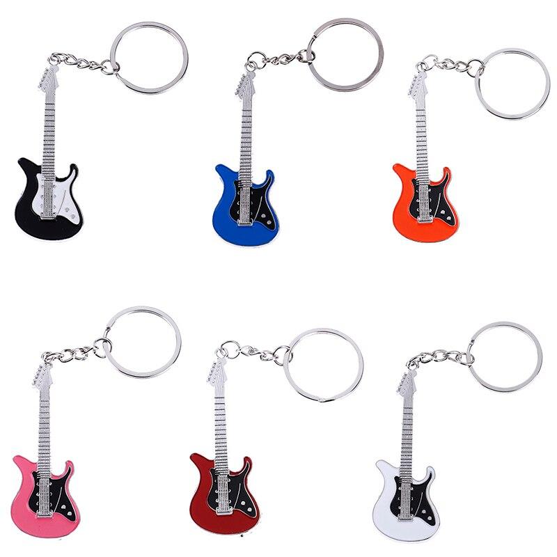 1pc Guitar Key Chain Set Creative Metal Electric Guitar Mini Keychain Key Chain Key Ring Gifts