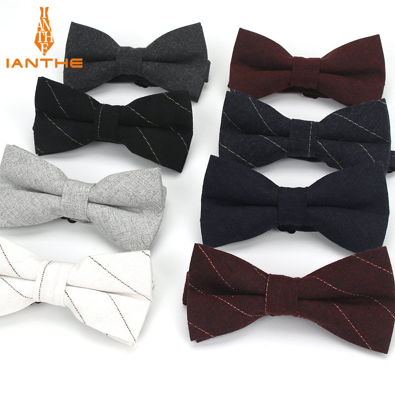 Brand New Arrival Solid Striped Gentleman's Adjustable Leisure Bowtie For Men Cravat Cotton Bow Ties Black Grey Navy Butterfly