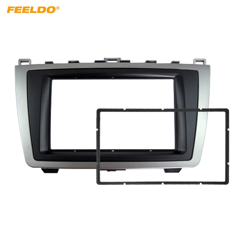 FEELDO Car 2DIN Audio <font><b>Radio</b></font> Fascia For <font><b>Mazda</b></font> <font><b>6</b></font> 2009-2013 Stereo Plate Panel Frame Installation <font><b>Dash</b></font> Mount Trim <font><b>Kit</b></font> #HQ5005 image